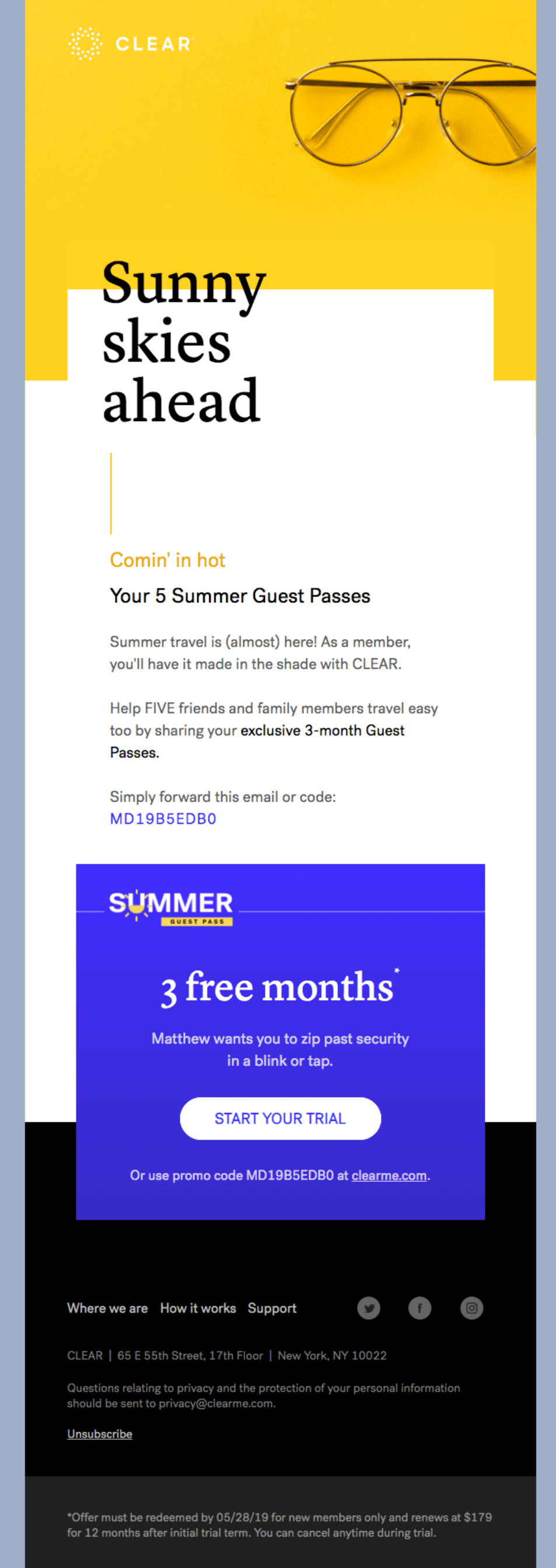 Email marketing example Clear
