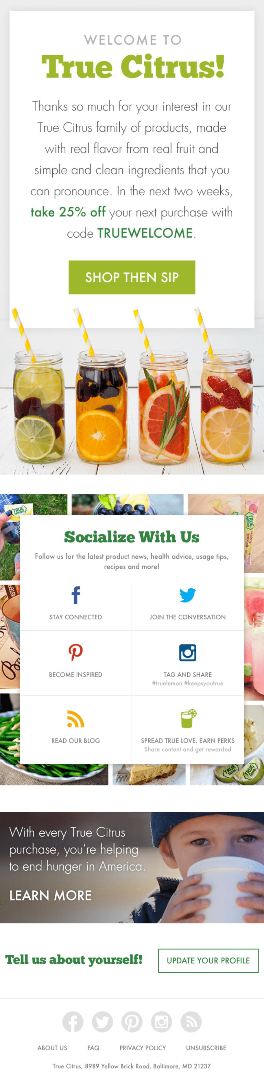 Email marketing example True Citrus