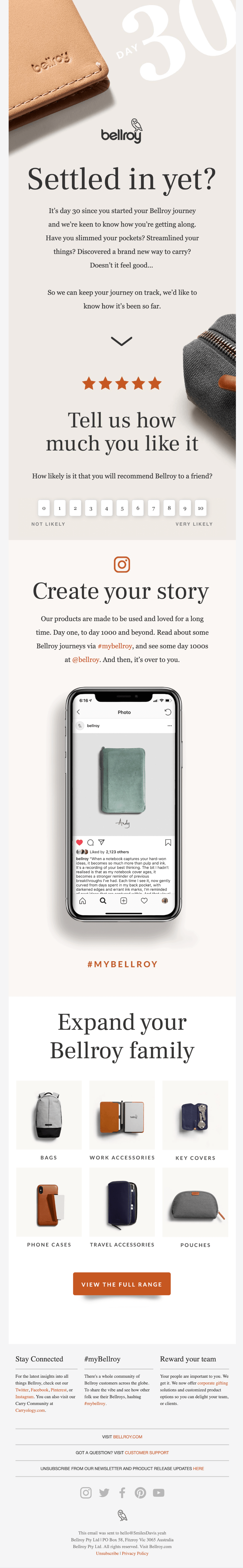 Email marketing example from Bellroy