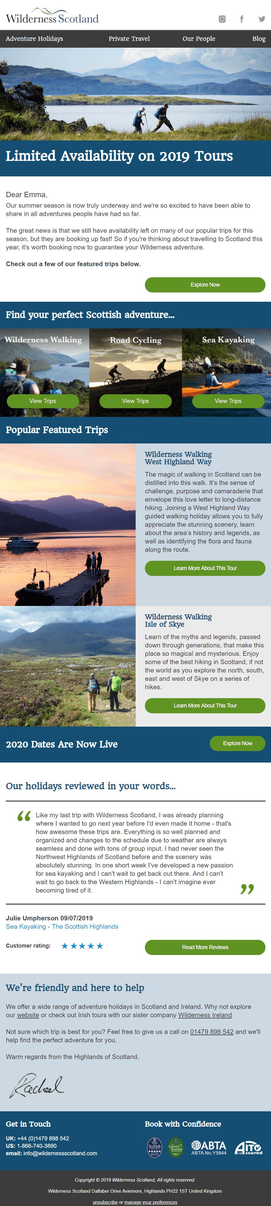 Email marketing example Wilderness Scotland