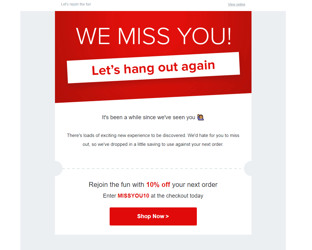 Example of a personalized reactivation email