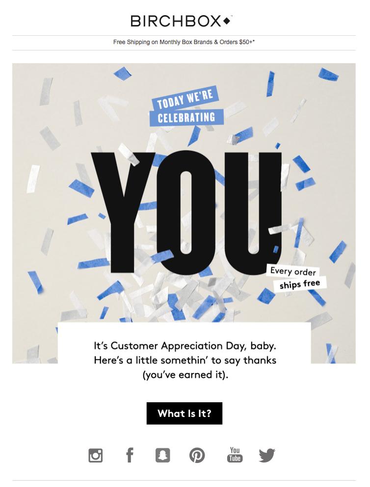 Customer appreciation email example