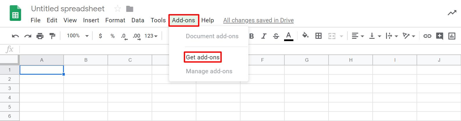 Télécharger modules complémentaires dans Google Sheet