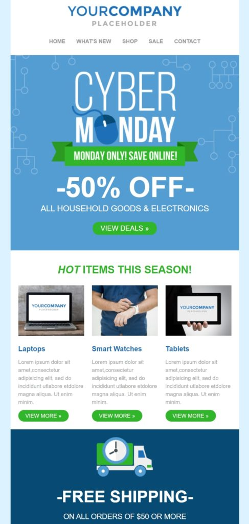 Cyber Monday sale email template by Sendinblue