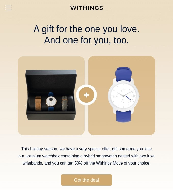 Holiday email example by Withings offering a discount for multiple items bought together