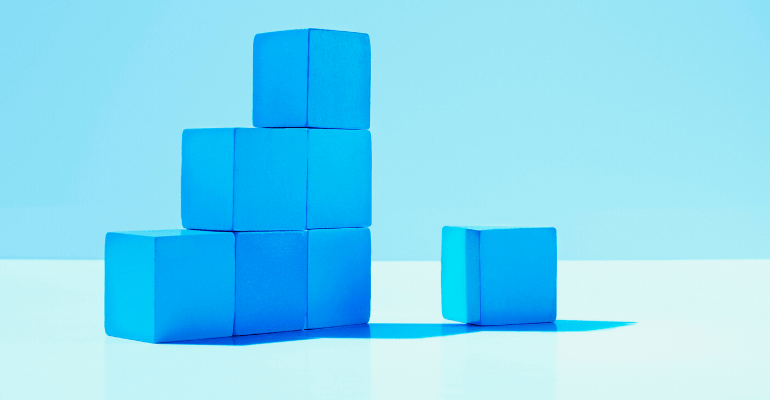 Stack of blue building blocks