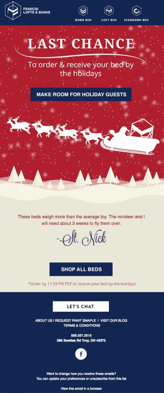 Holiday email by Francis Lofts & Bunks sharing Christmas delivery information