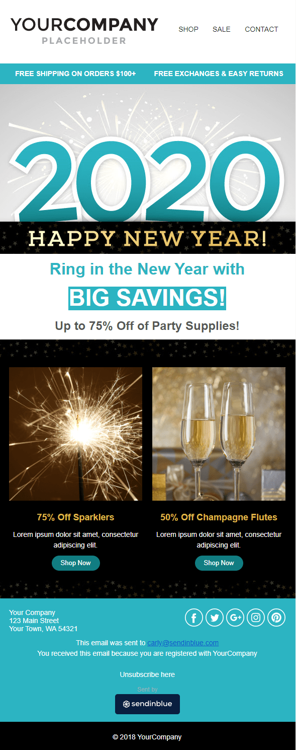 Happy New Year email template by Sendinblue
