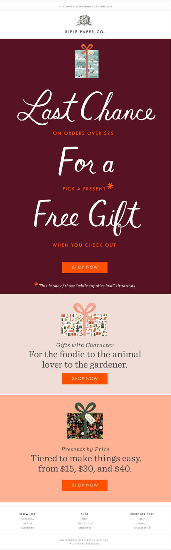 Christmas email example by Rifle Paper Co with a time sensitive offer