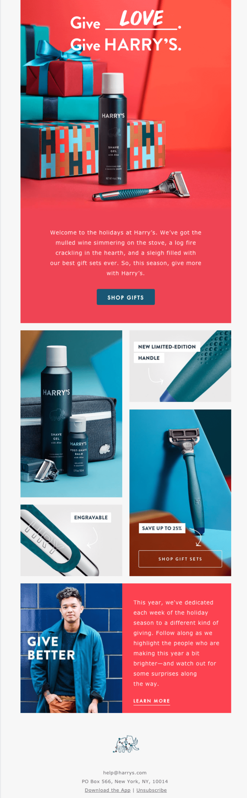 Holiday email from Harry's targeting customers who need to buy a gift for a man (suggested gifts: razors, shaving sets)