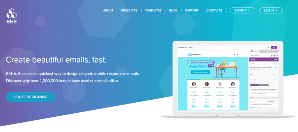 Screenshot of the BEEFREE homepage