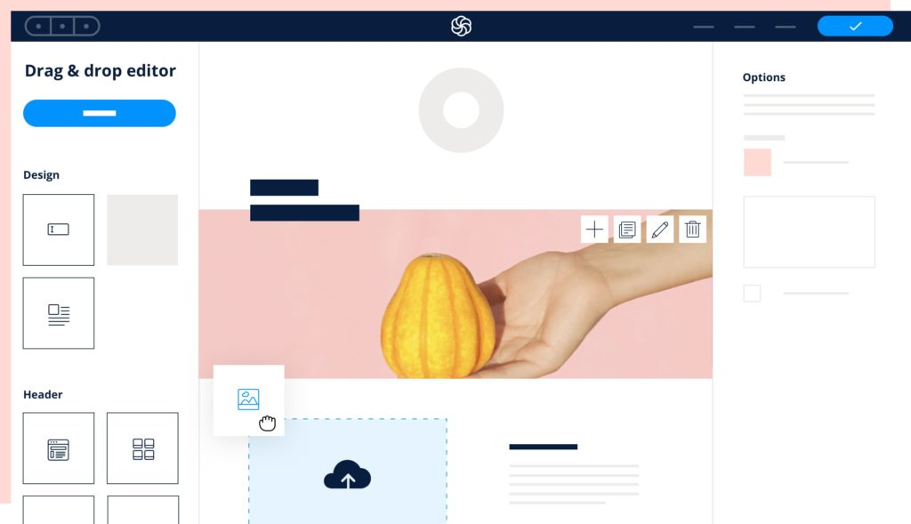 Illustration of the Sendinblue Drag & Drop email editor