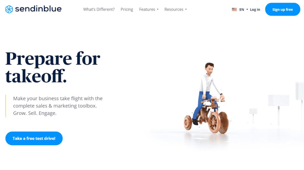 A screenshot of the Sendinblue homepage