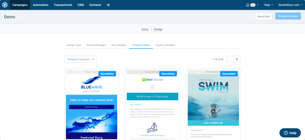 View of the Sendinblue email template gallery showing 3 templates