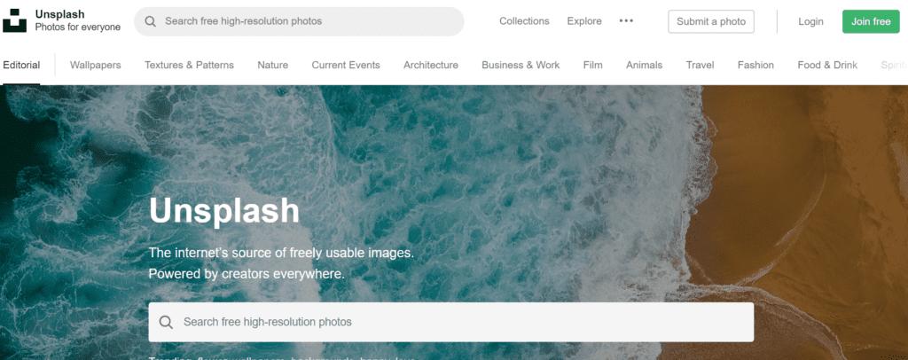 Screenshot of Unsplash homepage