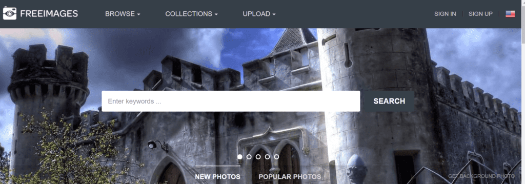 Screenshot of Freeimages homepage
