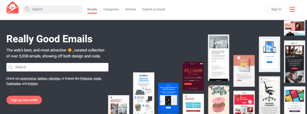 Screenshot of Reallygoodemails homepage