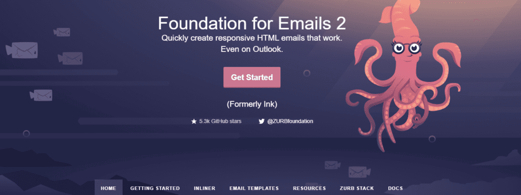 Screenshot of Foundation for Emails Homepage