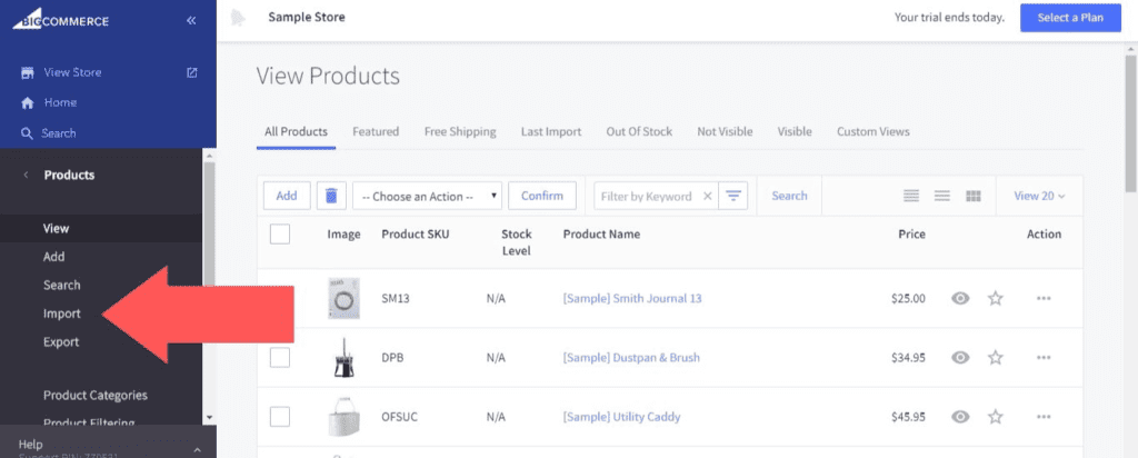Screenshot of the BigCommerce products tab