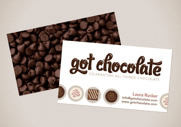 Example postcard for an online chocolate store