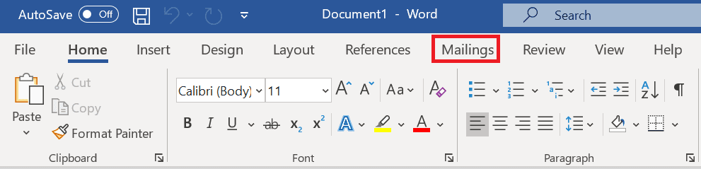 screenshot of mailings ribbons in Word