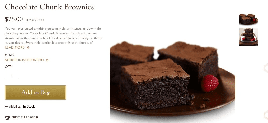Example of an ecommerce product page selling the product 'Chocolate Chunk Brownies'