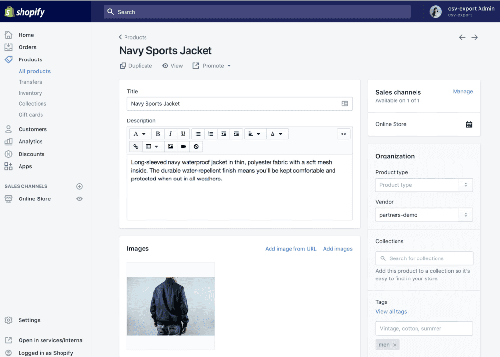Screenshot of the shopify 'Products' tab