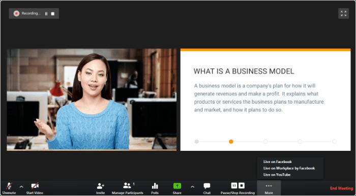 Woman presenting webinar using webinar platform