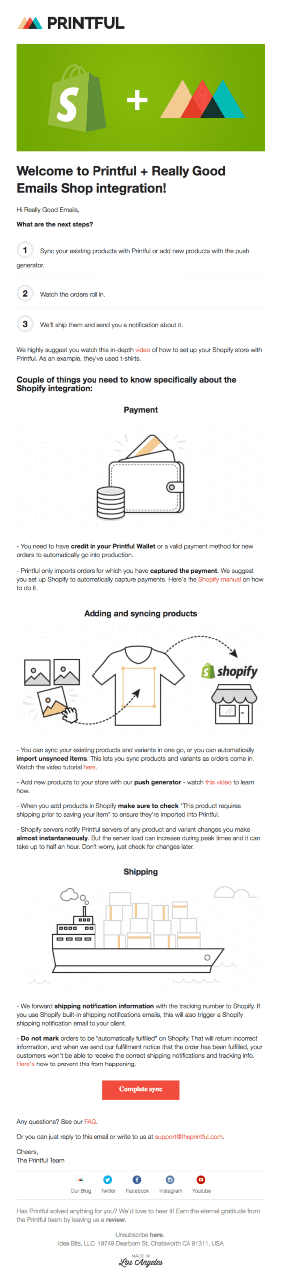 Onboarding example from Printful
