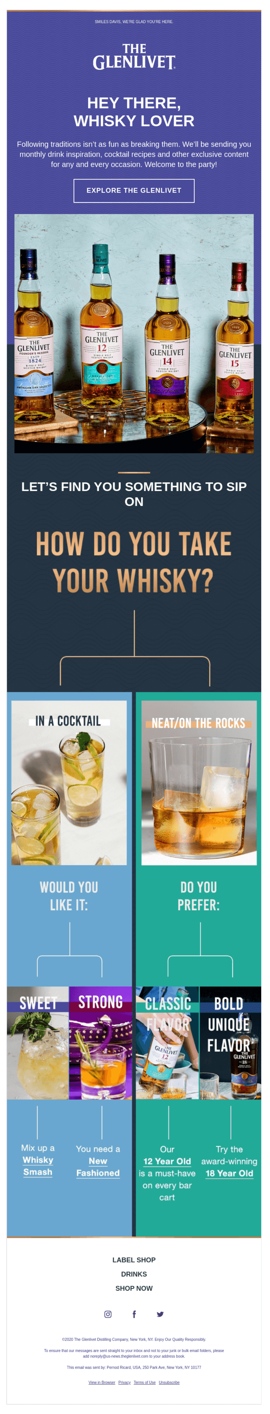 Onboarding email example from The Glenlivet using a quiz