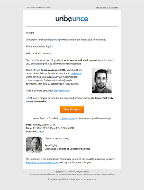 Unbounce example webinar invitation email