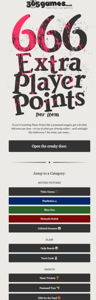 365 games Halloween email CTAs example