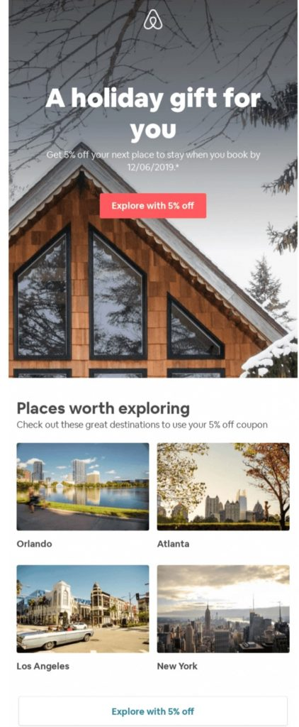 Airbnb example holiday email