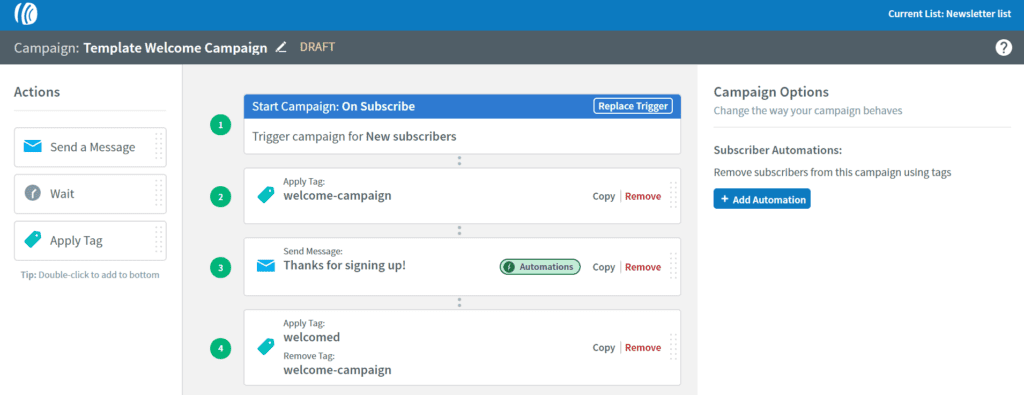 Screenshot of Aweber email automation platform