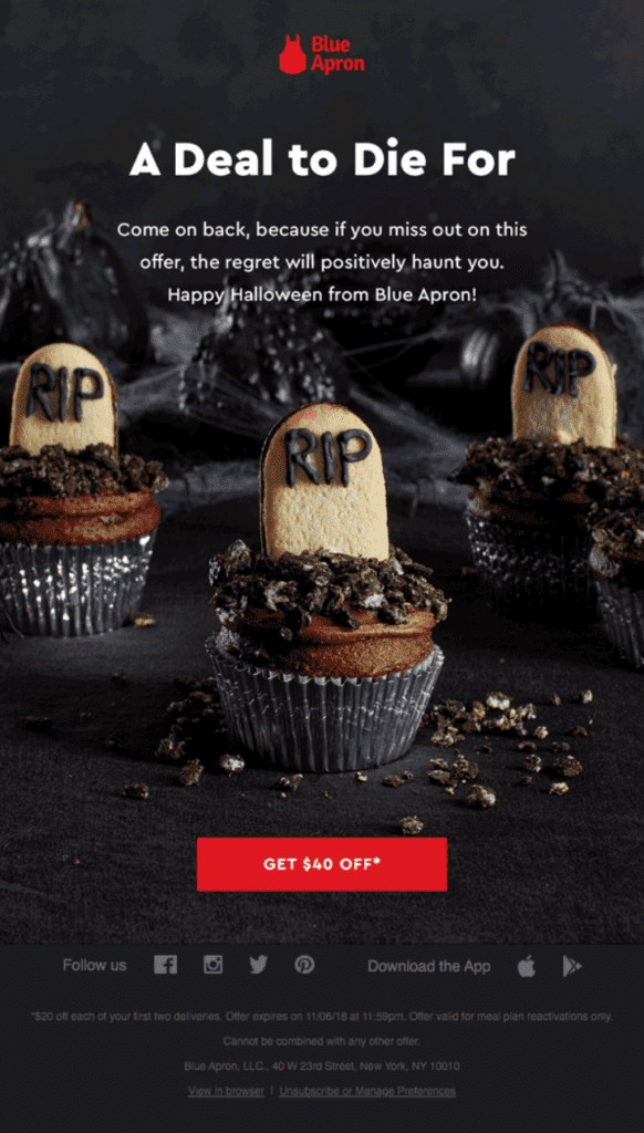 Blue Apron Halloween email copy example