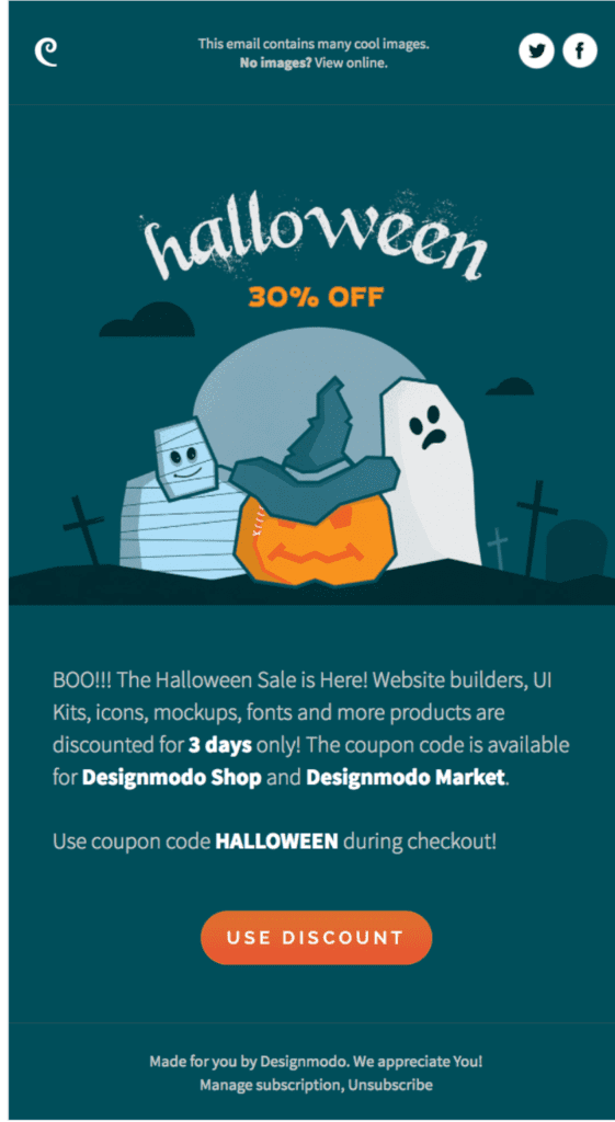 Designmodo example Halloween email call to action
