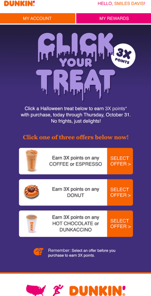 Dunkin Donuts Halloween email design example