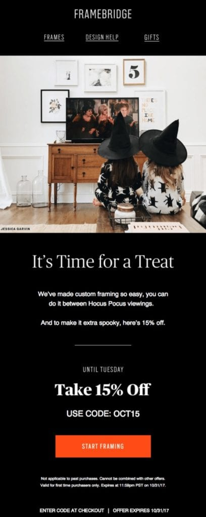 Framebridge Halloween email example
