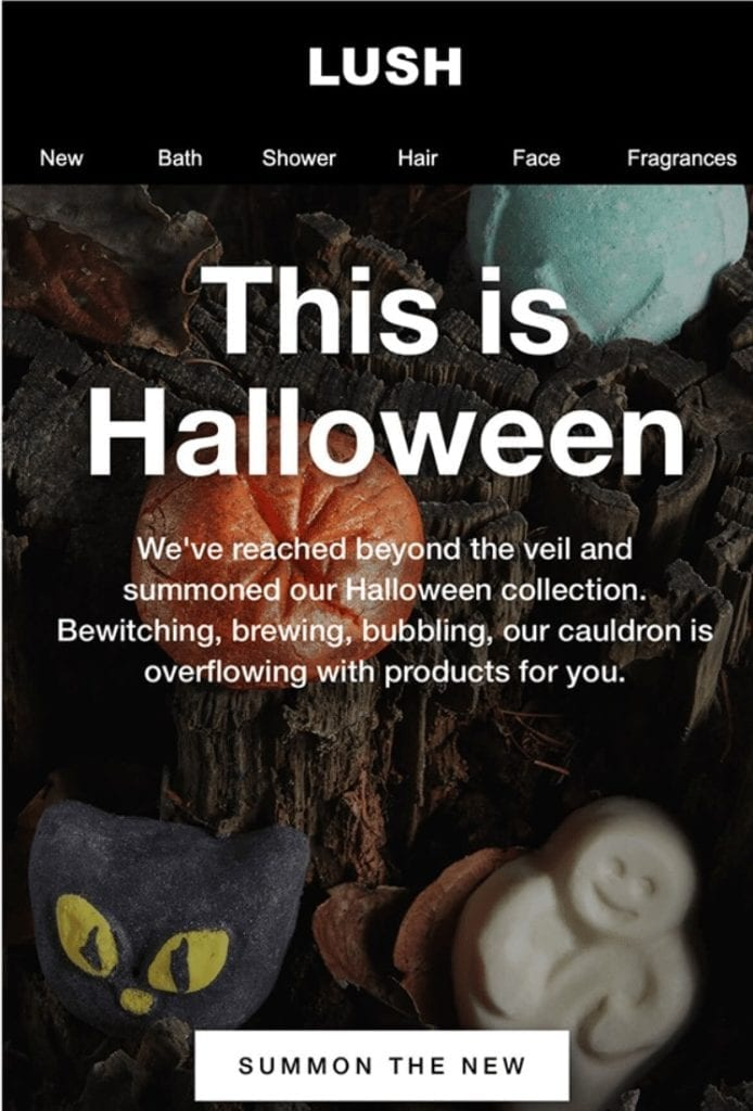 Lush Halloween email example