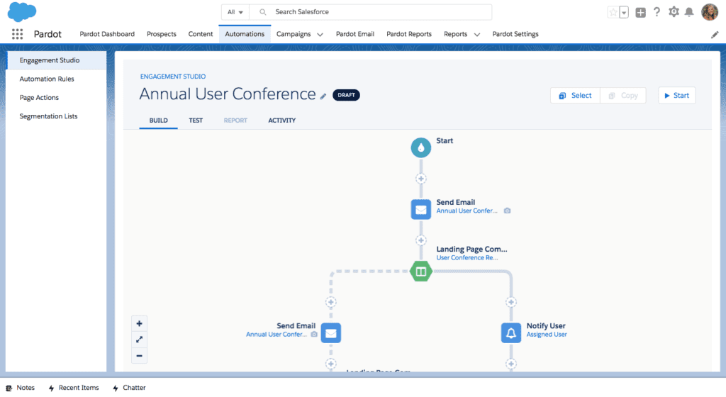 Screenshot of Pardot marketing automation platform
