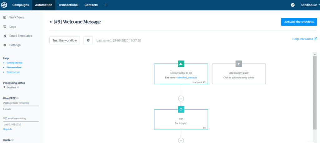 Screenshot of Sendinblue automation platform