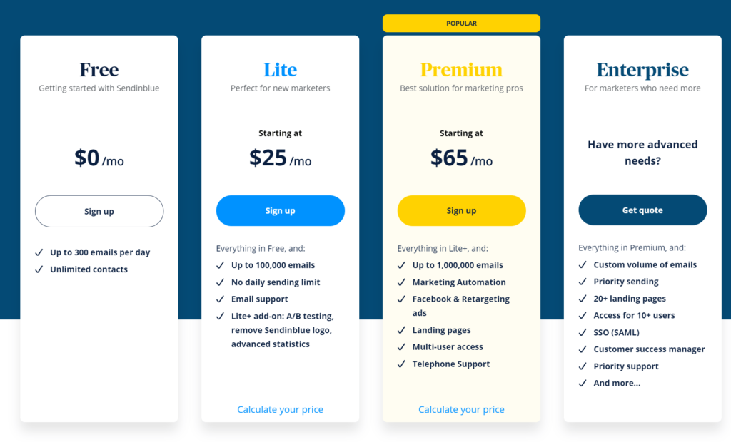 Screenshot of Sendinblue pricing plans