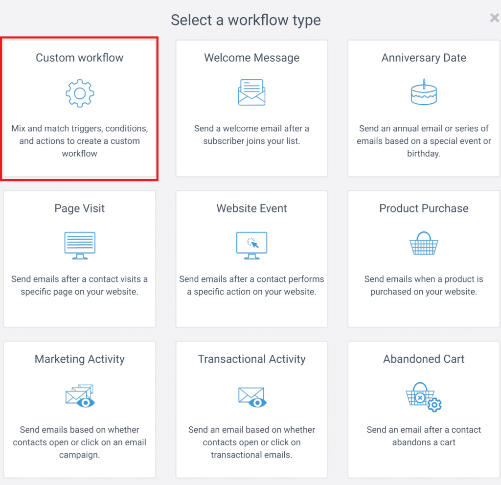 Screenshot of select 'Custom workflow' on Sendinblue