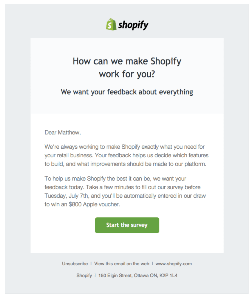 Shopify reactivation email example