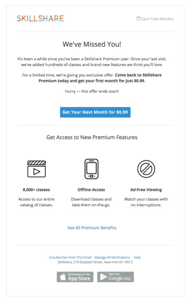 Skillshare reactivation email example