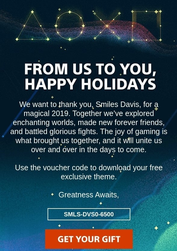 End-of-year email with voucher by PlayStation
