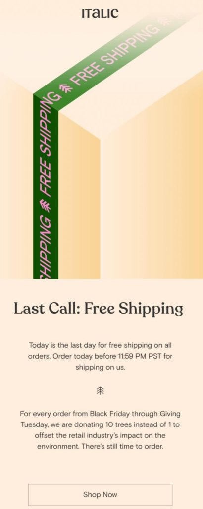 Black Friday campaign by Italic promoting their environmental actions and free shipping