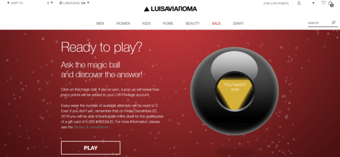 Screenshot of LuisaViaRoma's gamified holiday marketing campaign