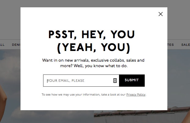 Example of a pop-up email signup form by Madewell