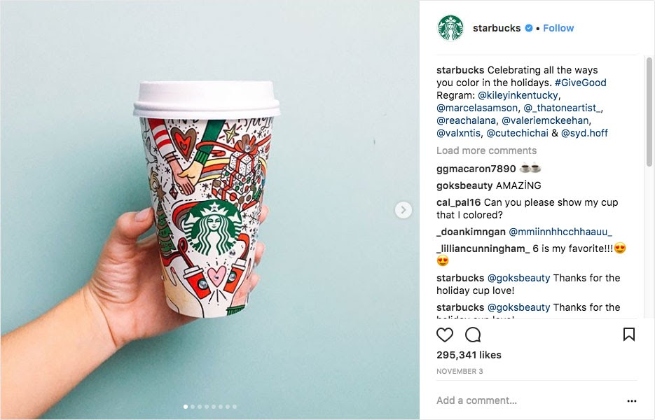 Instagram post by Starbucks for their  holiday marketing campaign idea using a social media contest